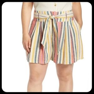 BP. Belted Pleated Linen Blend Striped Shorts